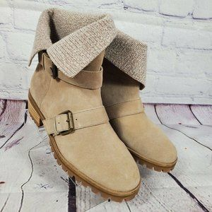 Splendid Tan Suede Foldable Ankle Boots